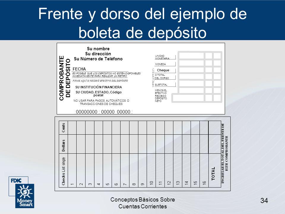 Conceptos Básicos Sobre Cuentas Corrientes 34 Frente y dorso del ejemplo de boleta de depósito Su nombre Su dirección Su Número de Teléfono COMPROBANT