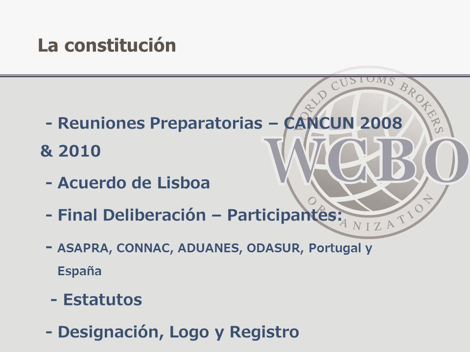 - Reuniones Preparatorias – CANCUN 2008 & 2010 - Acuerdo de Lisboa - Final Deliberación – Participantes: - ASAPRA, CONNAC, ADUANES, ODASUR, Portugal y