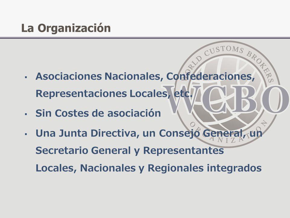 Asociaciones Nacionales, Confederaciones, Representaciones Locales, etc. Sin Costes de asociación Una Junta Directiva, un Consejo General, un Secretar