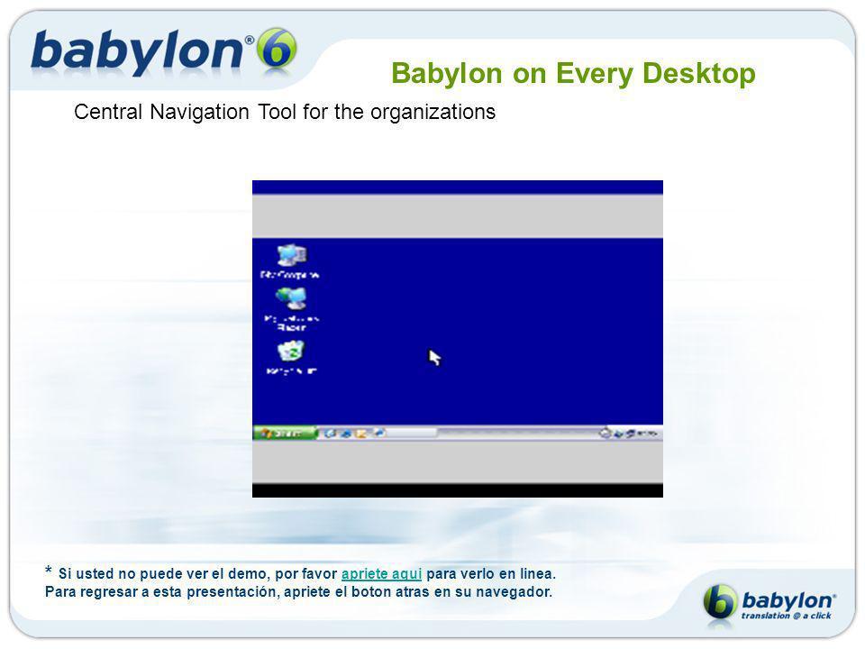Breve Descripción Fundado en 1997 Compañia de software para computadoras 70 empleados - Casa Matriz en Israel, Oficinas en Italia y Alemania 35 millones de usuarios 1.5 millones de licencias vendidas en el mundo Babylon 6 es la solucion de traduccion en un solo-click Vision de Babylon: Babylon en todos los ordenadores