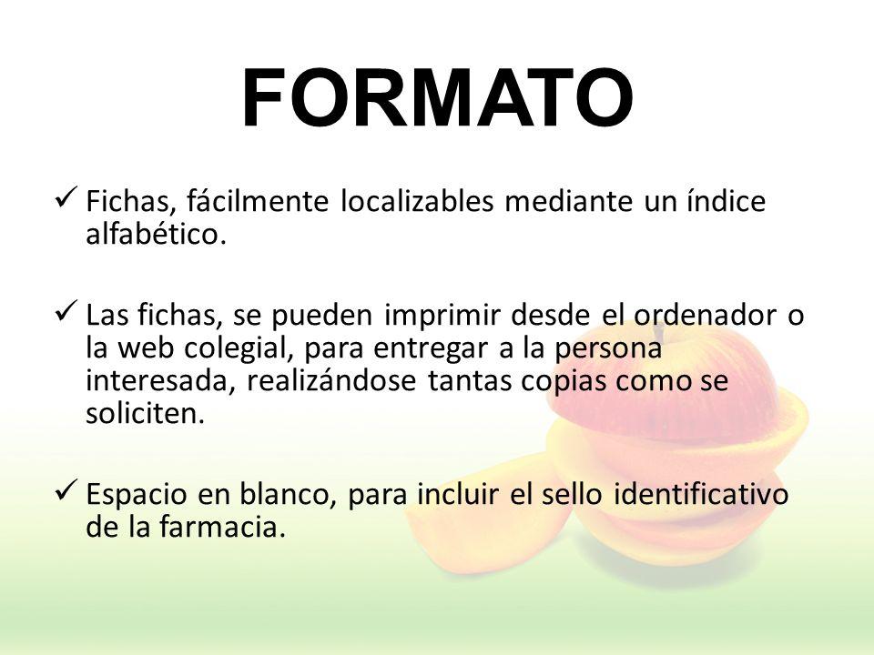 FORMATO Fichas, fácilmente localizables mediante un índice alfabético. Las fichas, se pueden imprimir desde el ordenador o la web colegial, para entre