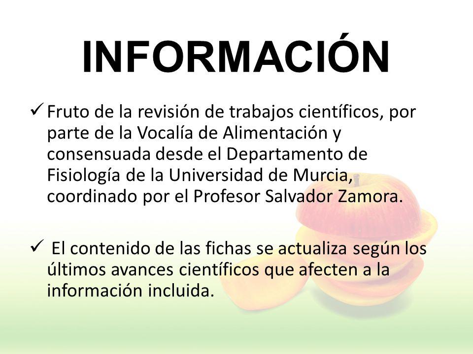 INFORMACIÓN Fruto de la revisión de trabajos científicos, por parte de la Vocalía de Alimentación y consensuada desde el Departamento de Fisiología de