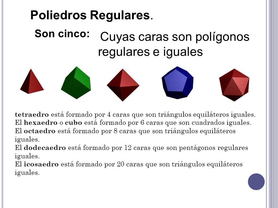 Poliedros Regulares. Son cinco: Cuyas caras son polígonos regulares e iguales tetraedro está formado por 4 caras que son triángulos equiláteros iguale