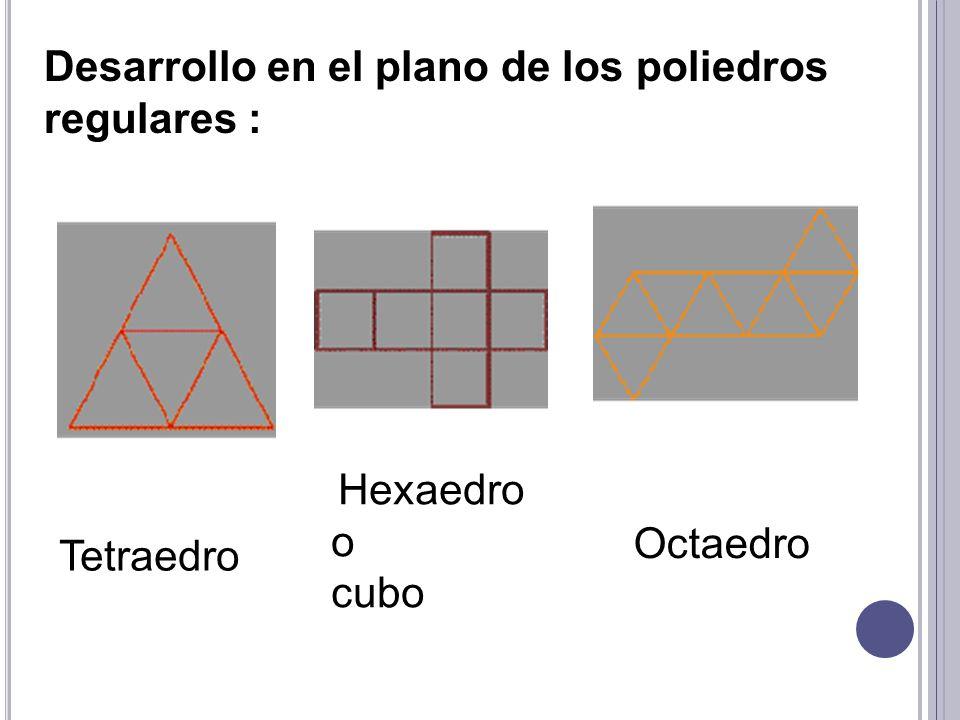 Desarrollo en el plano de los poliedros regulares : Tetraedro Hexaedro o cubo Octaedro