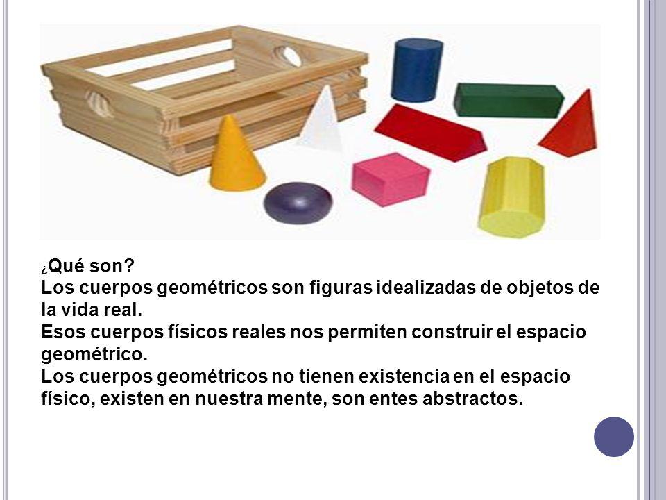 ¿ Qué son? Los cuerpos geométricos son figuras idealizadas de objetos de la vida real. Esos cuerpos físicos reales nos permiten construir el espacio g