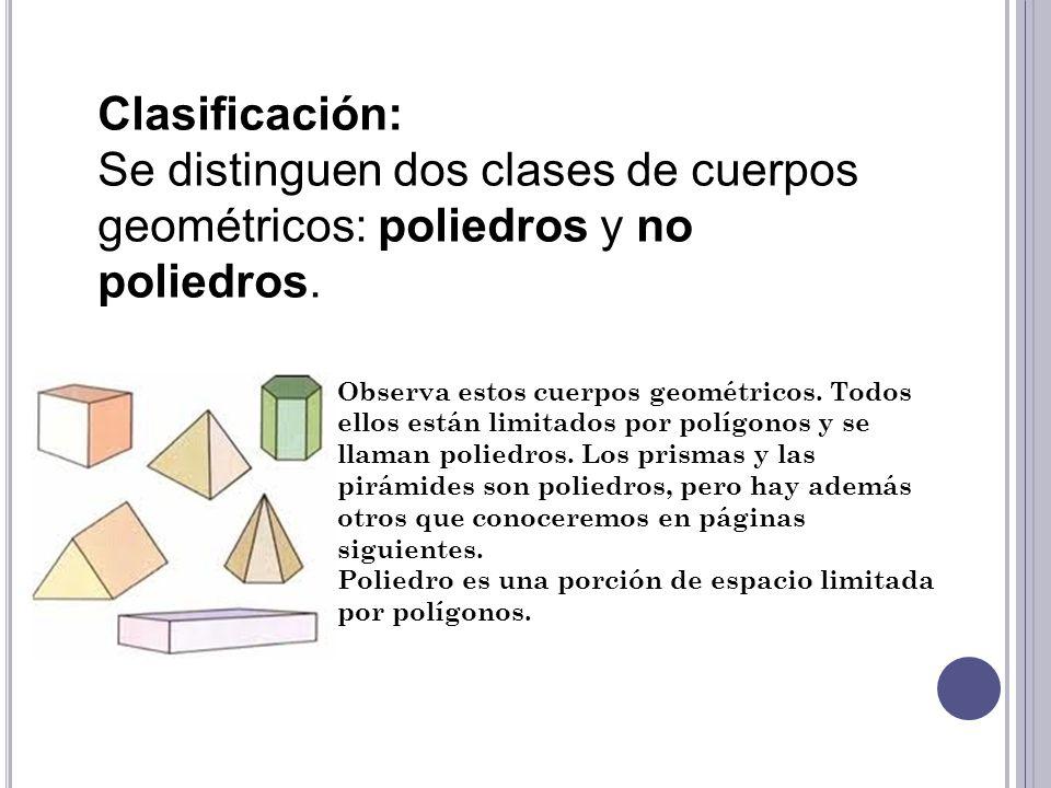 Clasificación: Se distinguen dos clases de cuerpos geométricos: poliedros y no poliedros. Observa estos cuerpos geométricos. Todos ellos están limitad