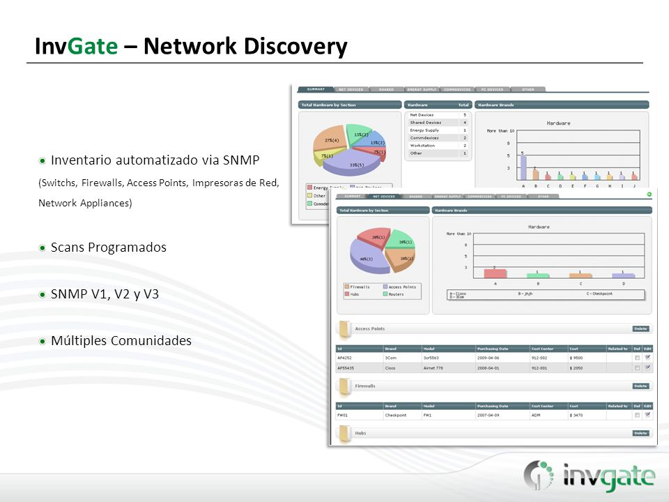 InvGate – Network Discovery Inventario automatizado via SNMP (Switchs, Firewalls, Access Points, Impresoras de Red, Network Appliances) Scans Programa