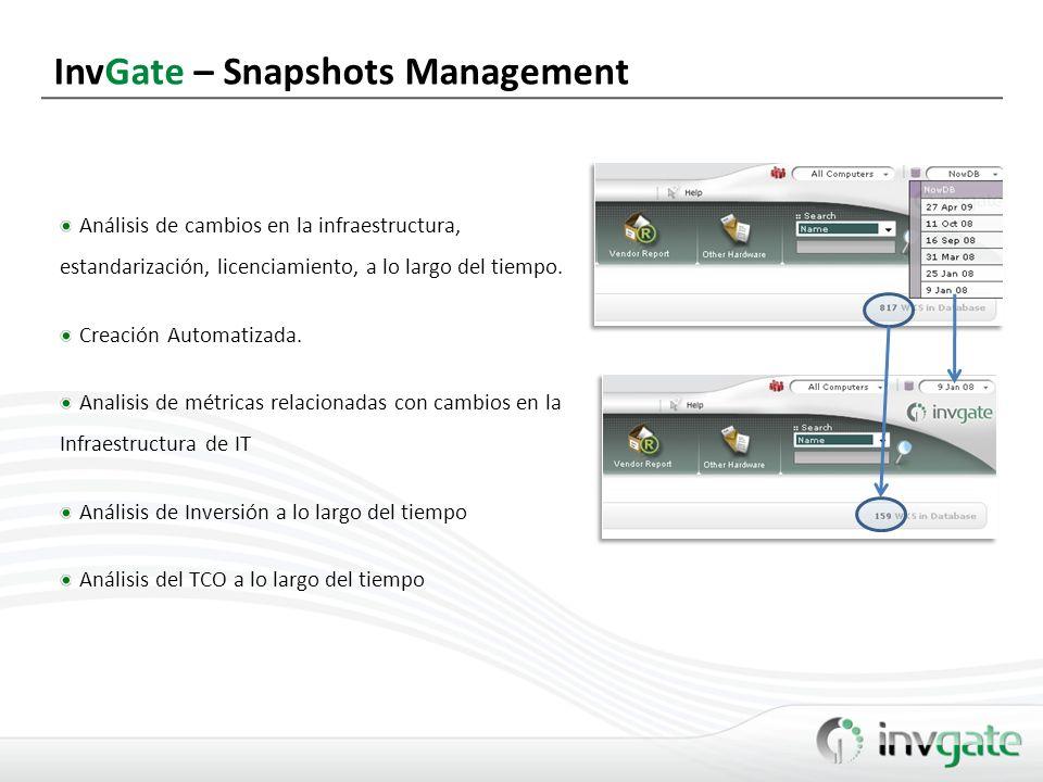 InvGate – Snapshots Management Análisis de cambios en la infraestructura, estandarización, licenciamiento, a lo largo del tiempo. Creación Automatizad
