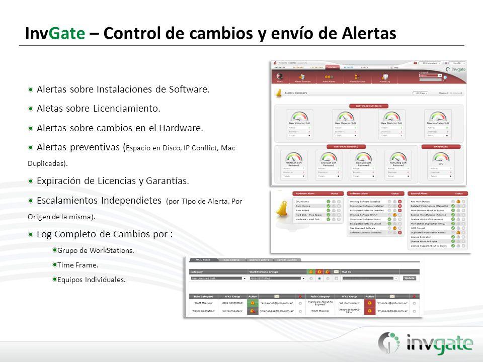 InvGate – Control de cambios y envío de Alertas Alertas sobre Instalaciones de Software. Aletas sobre Licenciamiento. Alertas sobre cambios en el Hard