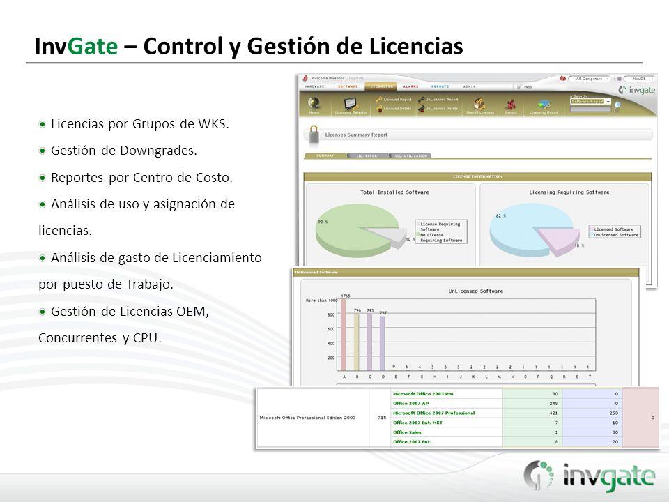 InvGate – Control y Gestión de Licencias Licencias por Grupos de WKS. Gestión de Downgrades. Reportes por Centro de Costo. Análisis de uso y asignació