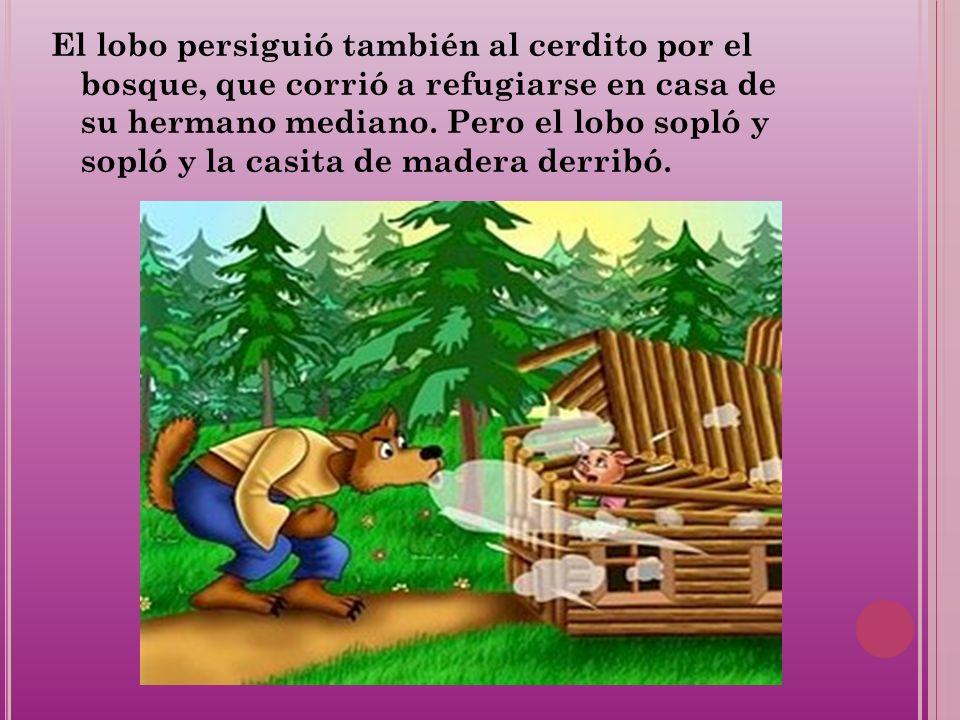 El lobo persiguió también al cerdito por el bosque, que corrió a refugiarse en casa de su hermano mediano. Pero el lobo sopló y sopló y la casita de m