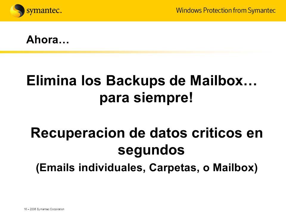 16 – 2006 Symantec Corporation Ahora… Elimina los Backups de Mailbox… para siempre! Recuperacion de datos criticos en segundos (Emails individuales, C