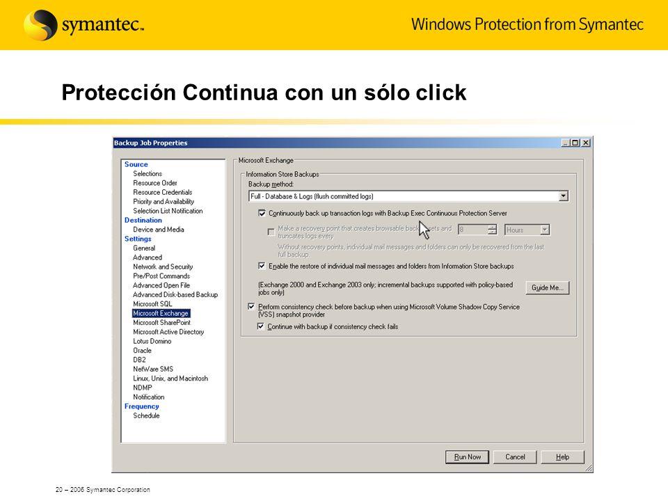 20 – 2006 Symantec Corporation Protección Continua con un sólo click