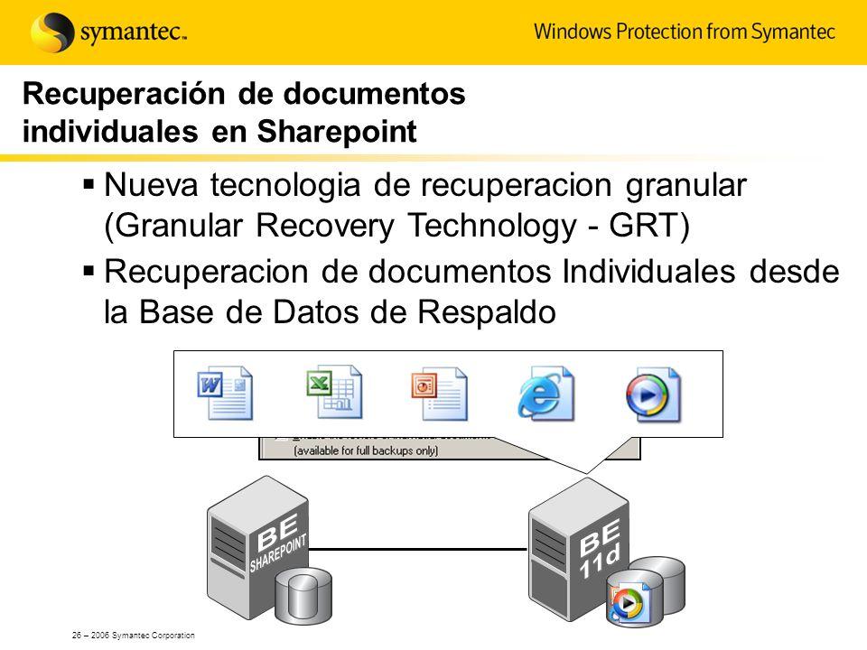 26 – 2006 Symantec Corporation Recuperación de documentos individuales en Sharepoint Nueva tecnologia de recuperacion granular (Granular Recovery Tech