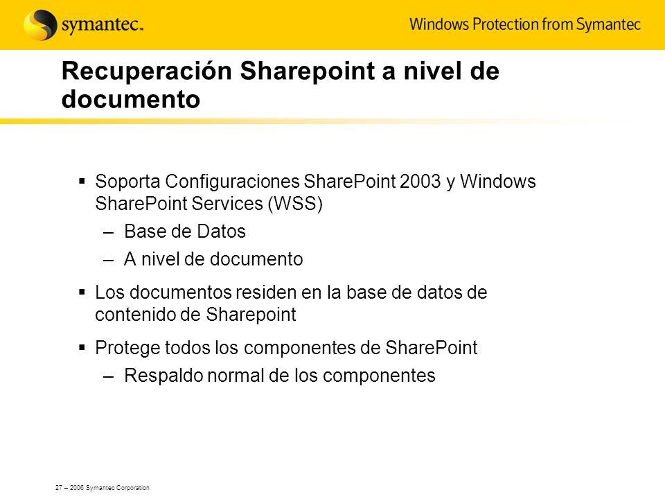 27 – 2006 Symantec Corporation Recuperación Sharepoint a nivel de documento Soporta Configuraciones SharePoint 2003 y Windows SharePoint Services (WSS