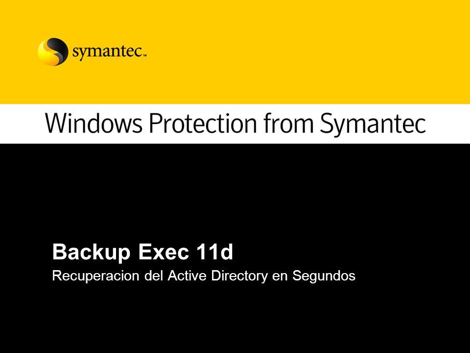 Backup Exec 11d Recuperacion del Active Directory en Segundos