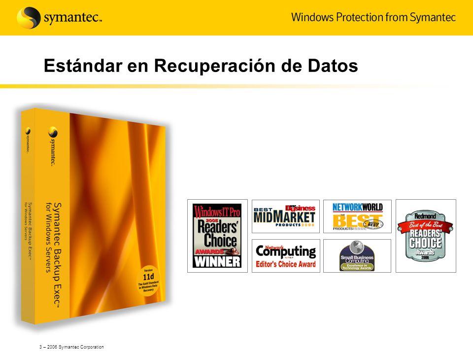 3 – 2006 Symantec Corporation Estándar en Recuperación de Datos