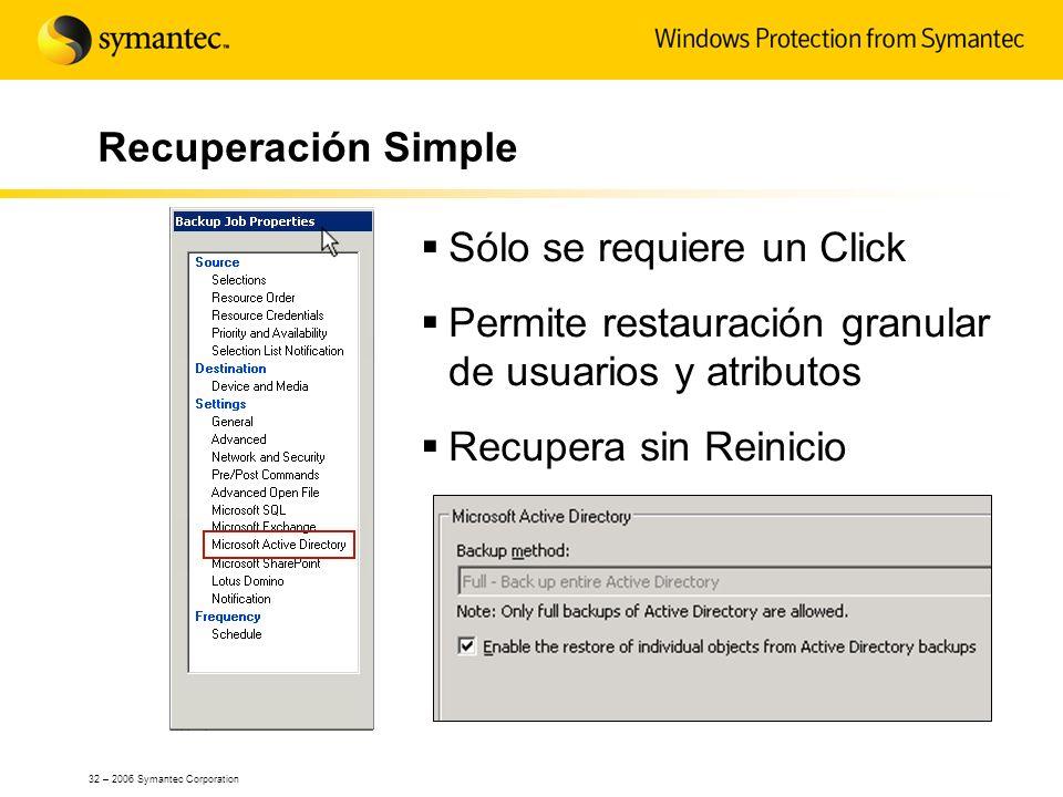 32 – 2006 Symantec Corporation Recuperación Simple Sólo se requiere un Click Permite restauración granular de usuarios y atributos Recupera sin Reinic