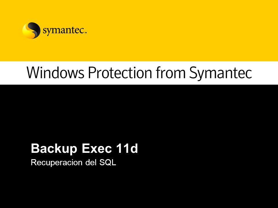 Backup Exec 11d Recuperacion del SQL