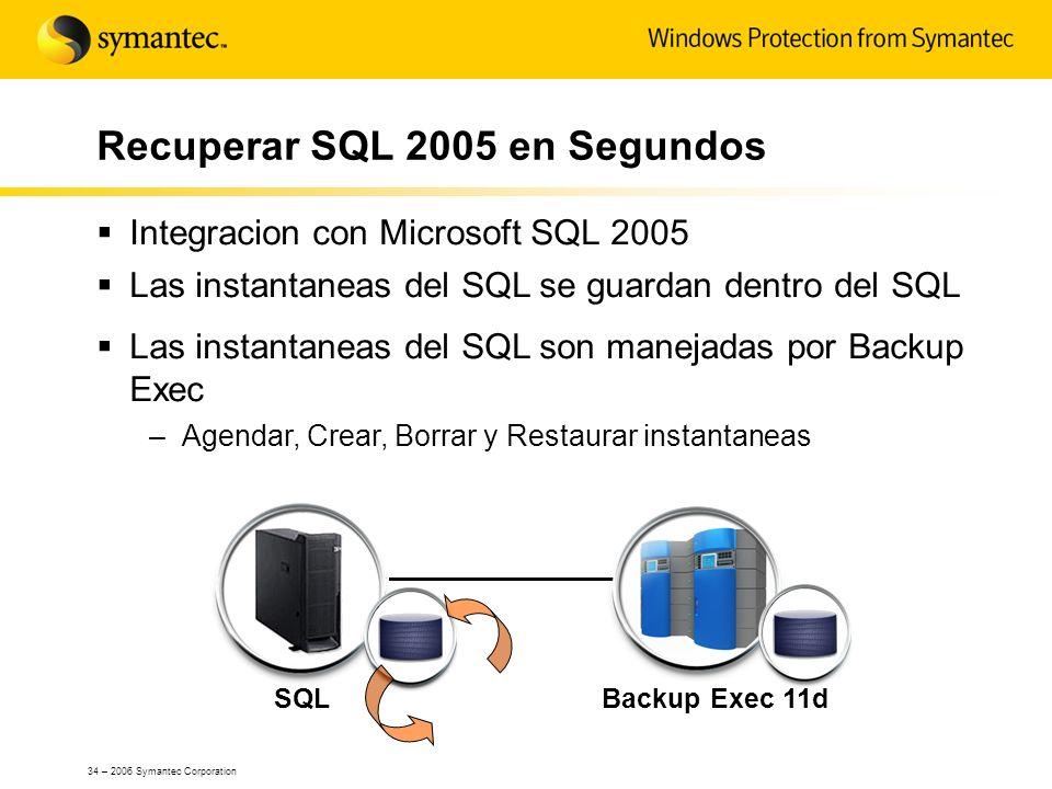 34 – 2006 Symantec Corporation SQLBackup Exec 11d Recuperar SQL 2005 en Segundos Integracion con Microsoft SQL 2005 Las instantaneas del SQL se guarda