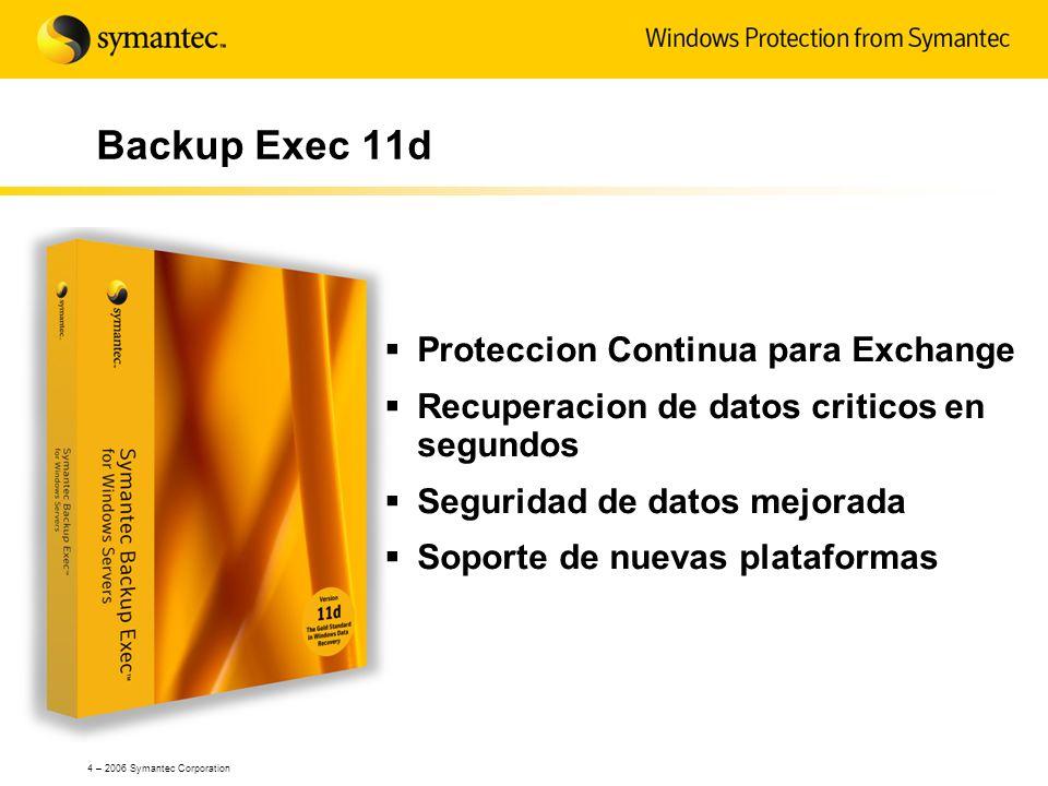 4 – 2006 Symantec Corporation Backup Exec 11d Proteccion Continua para Exchange Recuperacion de datos criticos en segundos Seguridad de datos mejorada