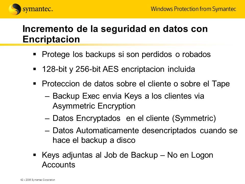 42 – 2006 Symantec Corporation Incremento de la seguridad en datos con Encriptacion Protege los backups si son perdidos o robados 128-bit y 256-bit AE