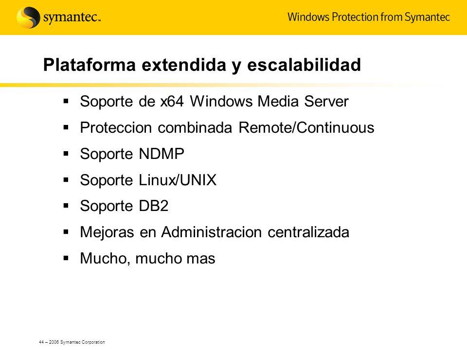 44 – 2006 Symantec Corporation Plataforma extendida y escalabilidad Soporte de x64 Windows Media Server Proteccion combinada Remote/Continuous Soporte