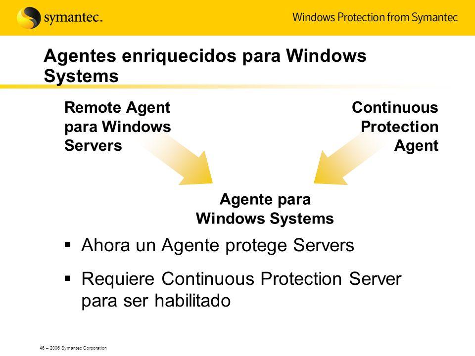 46 – 2006 Symantec Corporation Agentes enriquecidos para Windows Systems Ahora un Agente protege Servers Requiere Continuous Protection Server para se