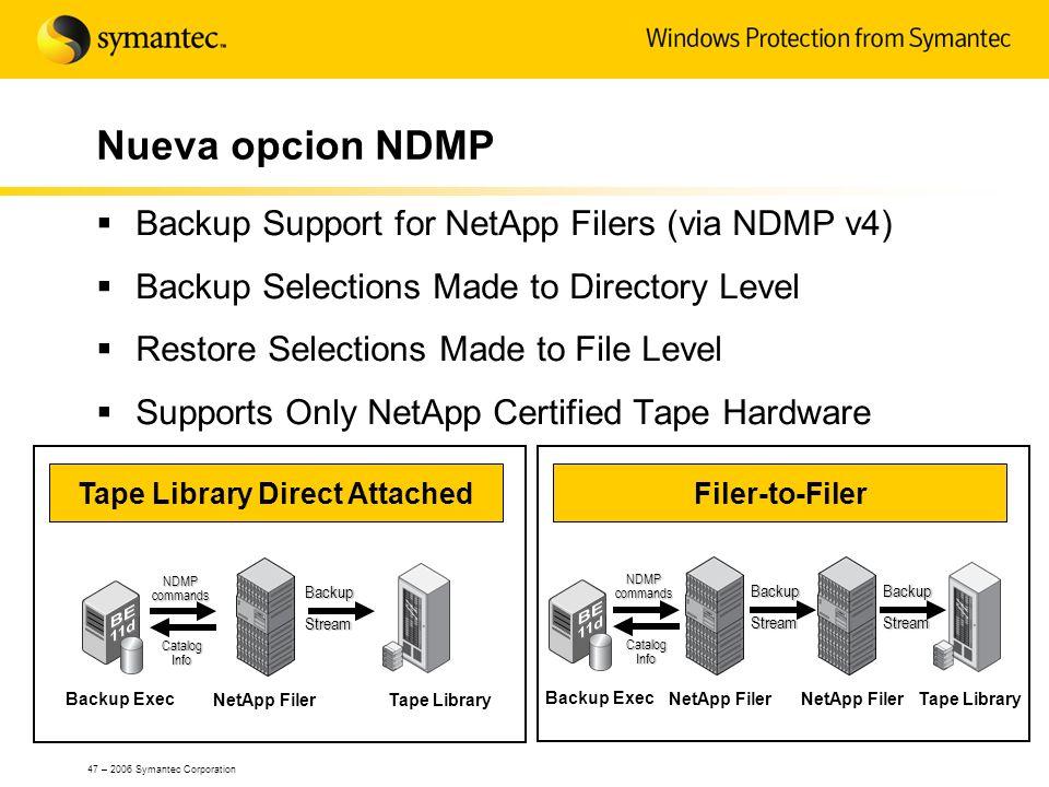 47 – 2006 Symantec Corporation Nueva opcion NDMP Backup Support for NetApp Filers (via NDMP v4) Backup Selections Made to Directory Level Restore Sele