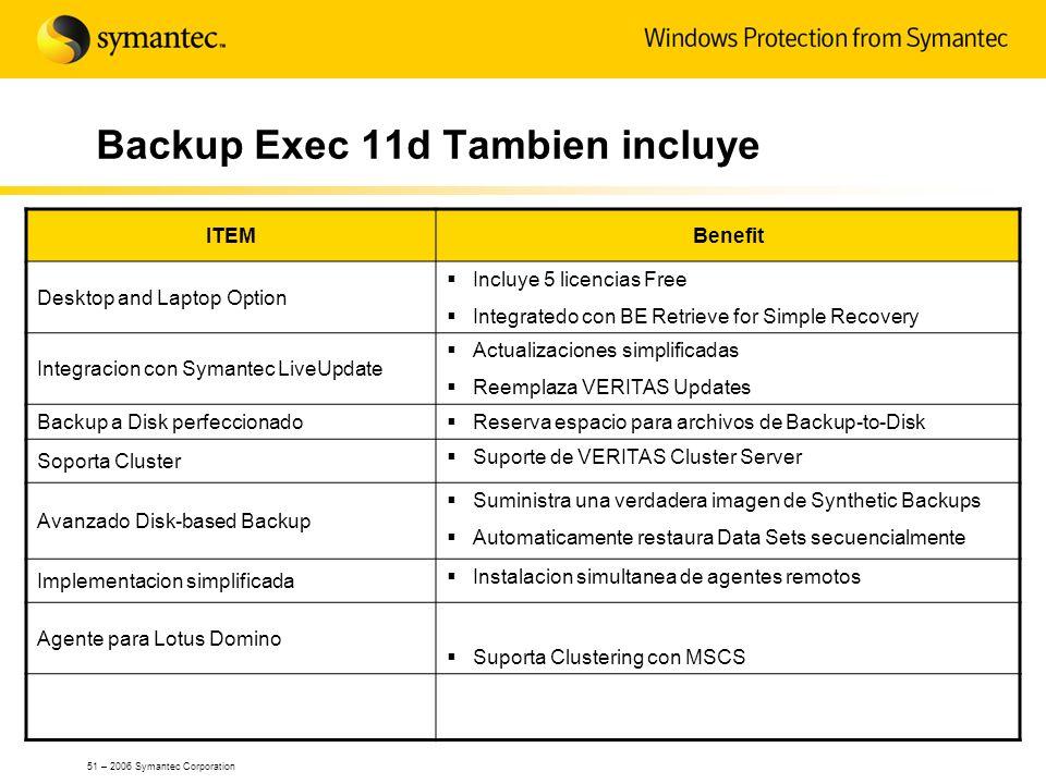 51 – 2006 Symantec Corporation Backup Exec 11d Tambien incluye ITEMBenefit Desktop and Laptop Option Incluye 5 licencias Free Integratedo con BE Retri