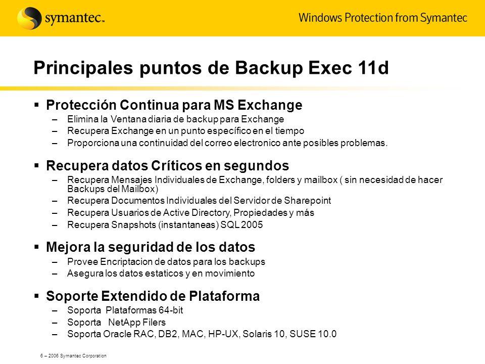 27 – 2006 Symantec Corporation Recuperación Sharepoint a nivel de documento Soporta Configuraciones SharePoint 2003 y Windows SharePoint Services (WSS) –Base de Datos –A nivel de documento Los documentos residen en la base de datos de contenido de Sharepoint Protege todos los componentes de SharePoint –Respaldo normal de los componentes