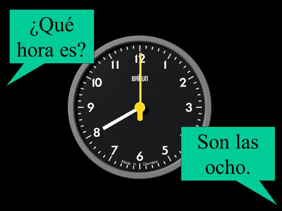 ¿Qué hora es? Son las ocho.