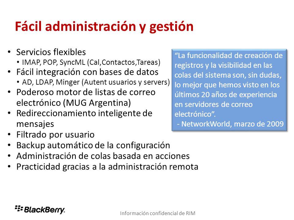 Fácil administración y gestión Servicios flexibles IMAP, POP, SyncML (Cal,Contactos,Tareas) Fácil integración con bases de datos AD, LDAP, Minger (Aut