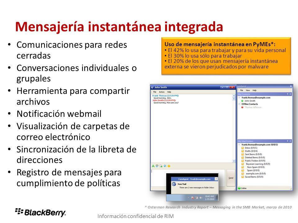 Mensajería instantánea integrada Comunicaciones para redes cerradas Conversaciones individuales o grupales Herramienta para compartir archivos Notific