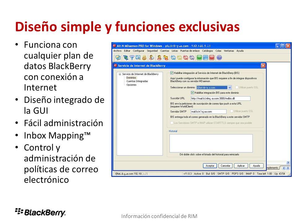 Diseño simple y funciones exclusivas Funciona con cualquier plan de datos BlackBerry con conexión a Internet Diseño integrado de la GUI Fácil administ