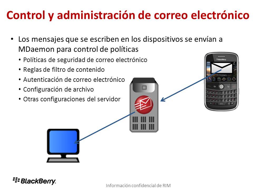 Control y administración de correo electrónico Los mensajes que se escriben en los dispositivos se envían a MDaemon para control de políticas Política