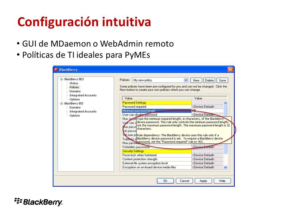 Configuración intuitiva GUI de MDaemon o WebAdmin remoto Políticas de TI ideales para PyMEs Configuración intuitiva