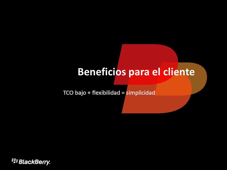 Beneficios para el cliente TCO bajo + flexibilidad = simplicidad