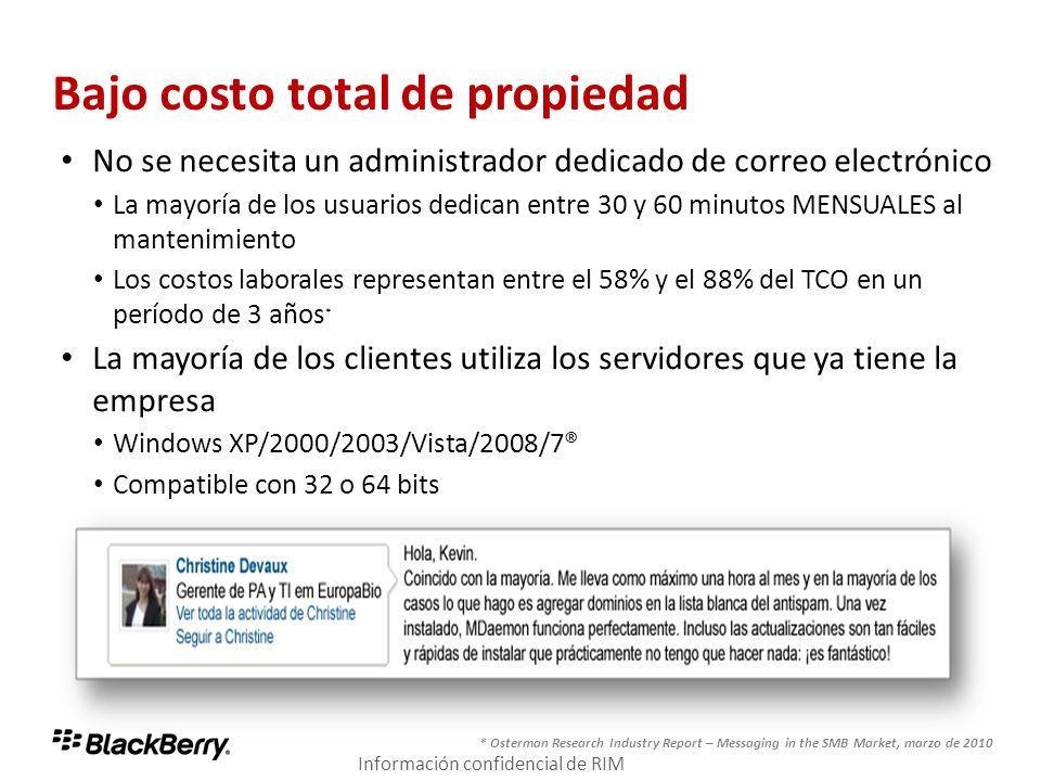 Bajo costo total de propiedad No se necesita un administrador dedicado de correo electrónico La mayoría de los usuarios dedican entre 30 y 60 minutos