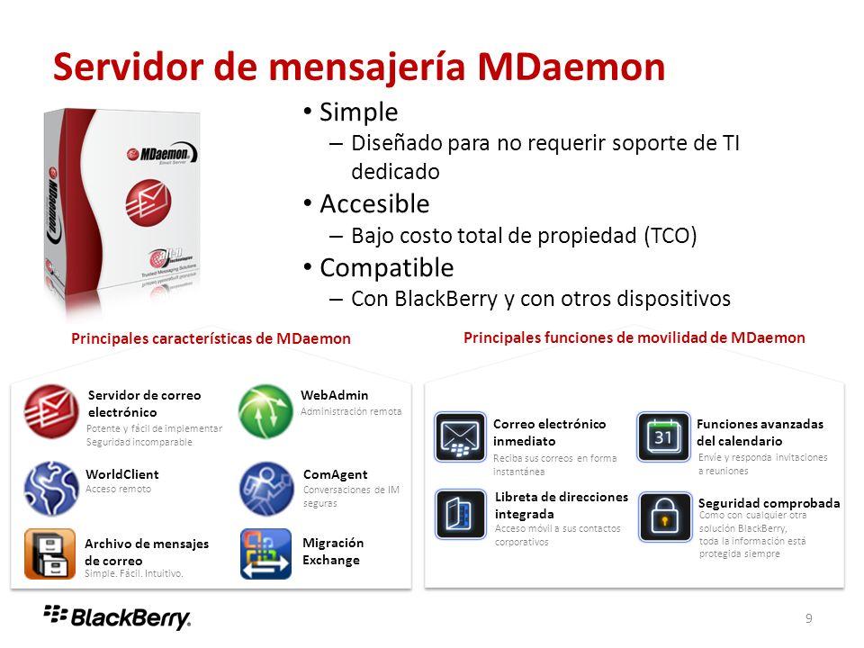 9 Servidor de mensajería MDaemon Servidor de correo electrónico Potente y fácil de implementar Seguridad incomparable WorldClient Acceso remoto WebAdm