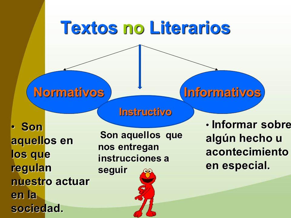 Textos no Literarios NormativosInformativos S Son aquellos en los que regulan nuestro actuar en la sociedad. I Informar sobre algún hecho u acontecimi