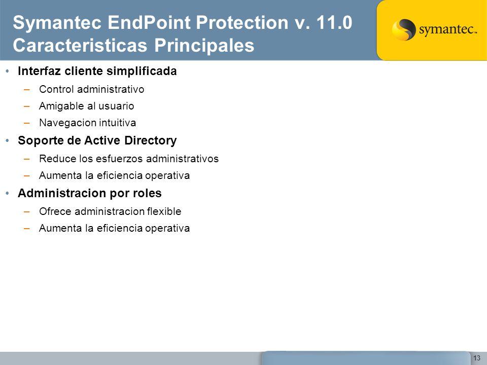 13 Symantec EndPoint Protection v. 11.0 Caracteristicas Principales Interfaz cliente simplificada –Control administrativo –Amigable al usuario –Navega