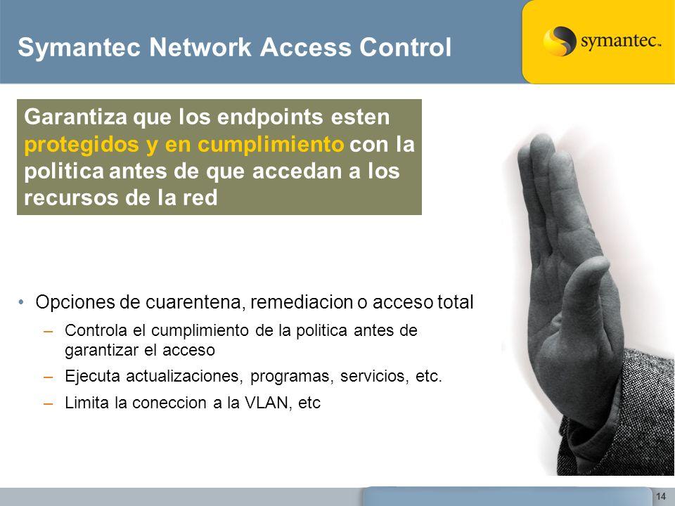 14 Symantec Network Access Control Opciones de cuarentena, remediacion o acceso total –Controla el cumplimiento de la politica antes de garantizar el