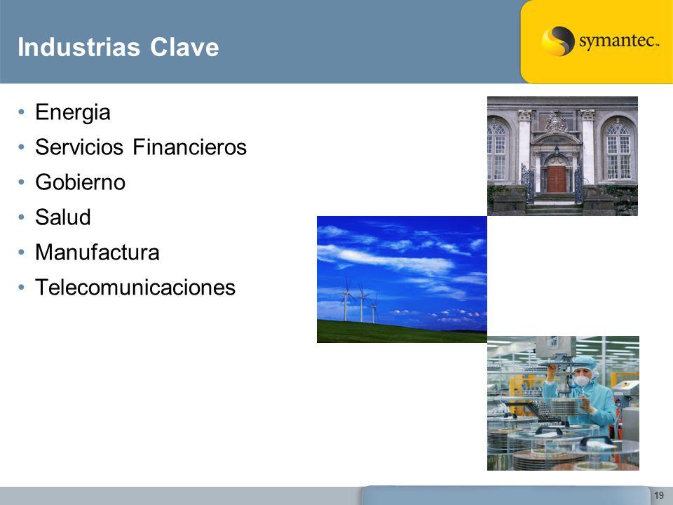 19 Industrias Clave Energia Servicios Financieros Gobierno Salud Manufactura Telecomunicaciones