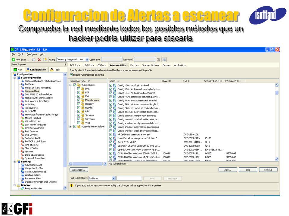 Configuracion de Alertas a escanear Comprueba la red mediante todos los posibles métodos que un hacker podría utilizar para atacarla