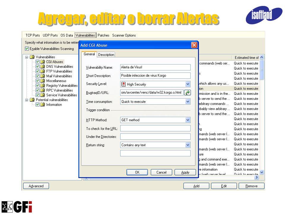 Agregar, editar o borrar Alertas