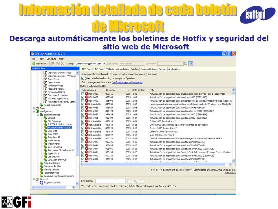 Información detallada de cada boletín de Microsoft Descarga automáticamente los boletines de Hotfix y seguridad del sitio web de Microsoft