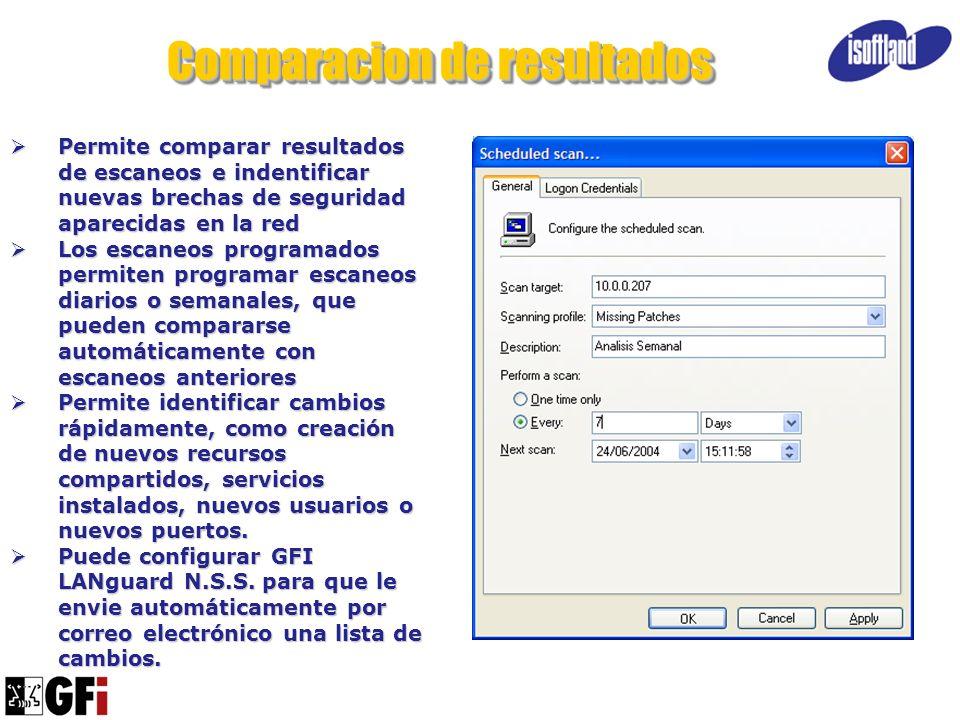 Comparacion de resultados Permite comparar resultados de escaneos e indentificar nuevas brechas de seguridad aparecidas en la red Permite comparar res