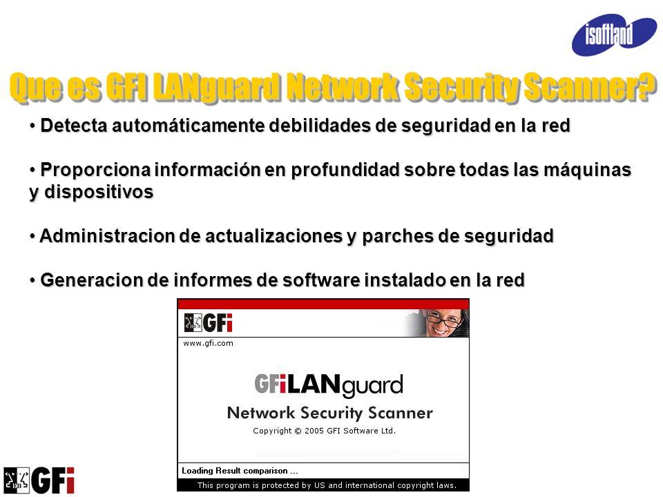 Que es GFI LANguard Network Security Scanner? Detecta automáticamente debilidades de seguridad en la red Detecta automáticamente debilidades de seguri