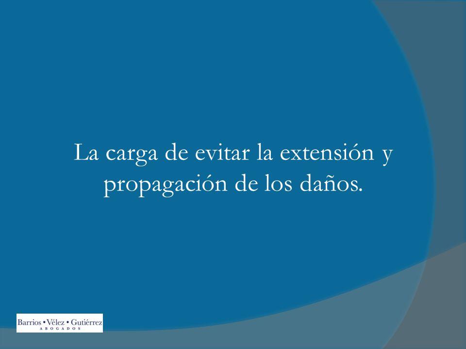La carga de evitar la extensión y propagación de los daños.